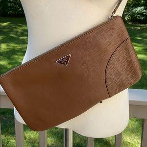 Prada Authentic Leather Pouch Wristlet Zip Closure